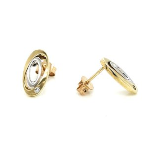 Ohrstecker bicolor matt Gold 333 Zirkonia oval 14x7mm