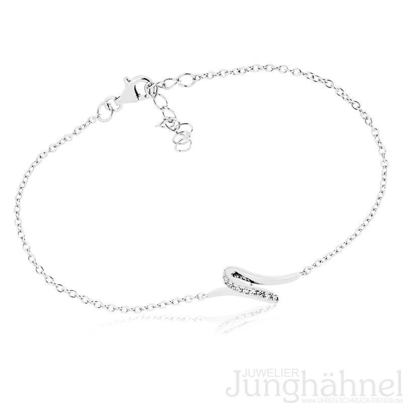 Armband mit geschwungenem Mittelteil, 925 Silber und Zirkonia, Länge 18+3cm  - Juwelier Junghähnel fc4553150d
