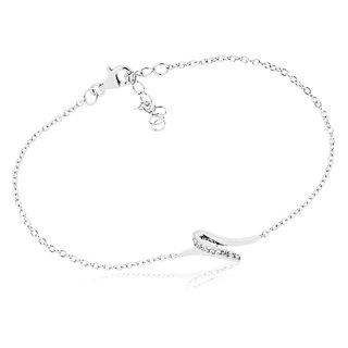 Armband mit geschwungenem Mittelteil, 925 Silber und Zirkonia, Länge 18+3cm  ... 105ae34658