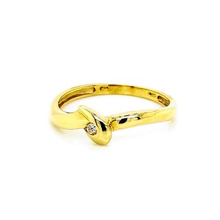 Brillantring 585 Gold 14kt. 1x Brillant 0,04ct. W/Si, Ringweite 56