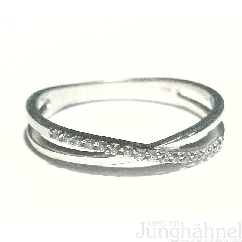 Ring Damenring mit Zirkonia weiß in der Mitte 925 Silber rhodiniert Silberring