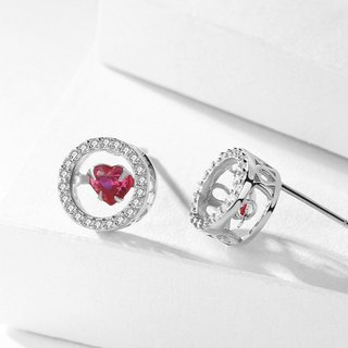 LOVELY HEARTS - Ohrstecker Heart in Ring Echt Silber 925 Glanz