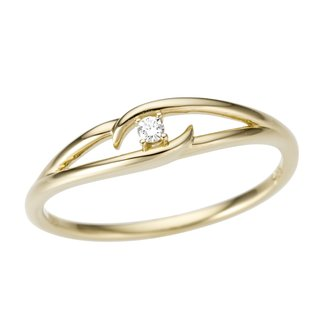 Ring Goldring 585 Gold filigran mit Diamant Ringweite 56