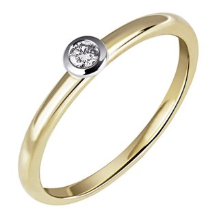 Brillantring, 585 Gold Glanz 1x Brillant 0,07ct W/Si, Ringweite 58